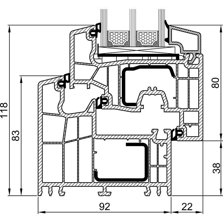V:CADCAD-ArbeitZeichnungen PK-07 BE92-07 BE92 Fensterschnit